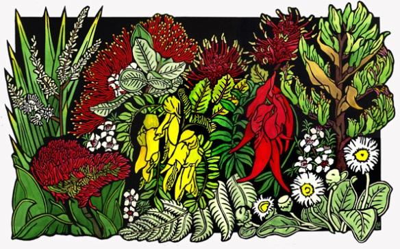 Final Linocut New Zealand Wildlfowers Linocut