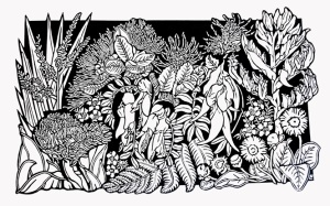 New Zealand Wildflowers Linocut Print B&W