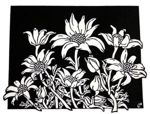 Flannel Flowers 2008 Linocut B&W