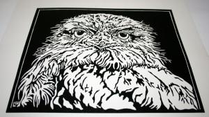 Lino print - Linocut Tawny Frogmouth