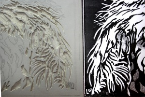 Linoblock carving with template
