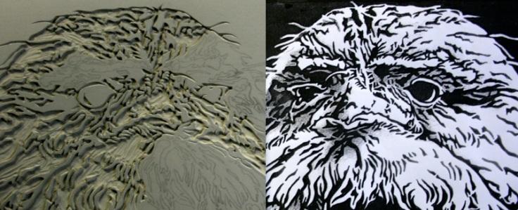 \'Sleepy Tawny\' Linoblock carving - Linocut
