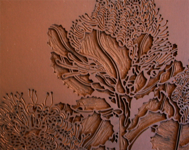 Banksia coccinea linocut carving and re art