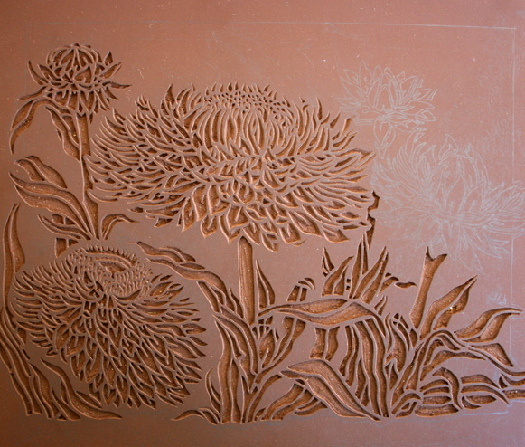 Everlasting daisies linocut block « soulsong art lynette