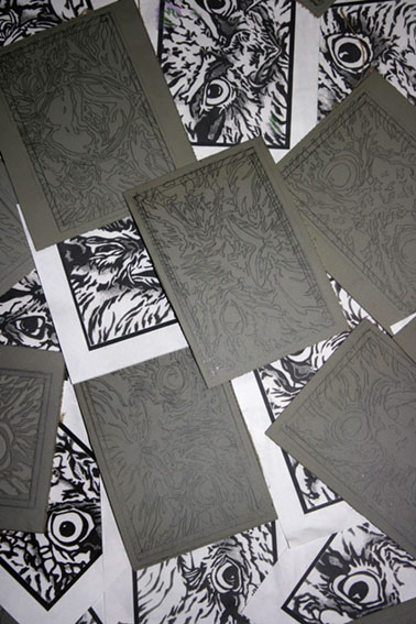 tawny-frogmouth-expressions-linocut-blocks