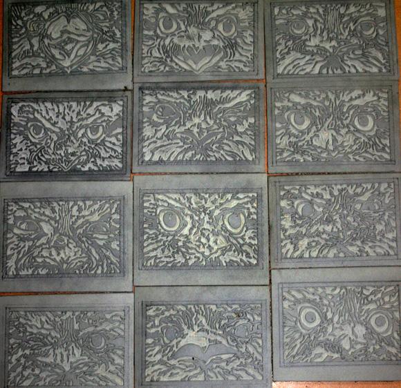 Tawny expressions linoblocks linocuts art studio