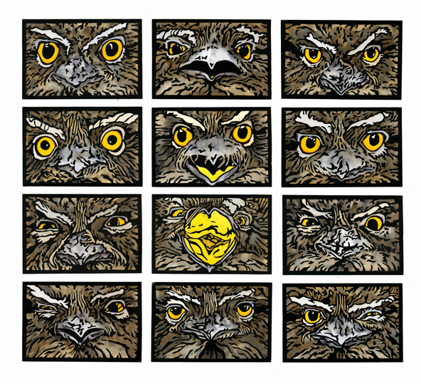 Tawny Frogmouth Linocuts Art