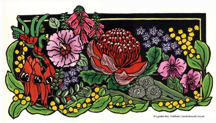 Australian Wildflower Linocut - Australian Floral Emblems