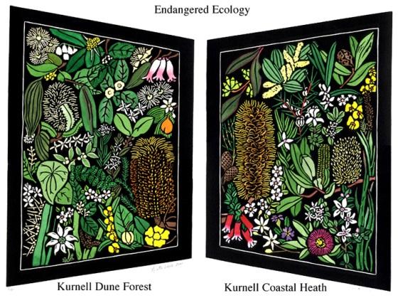 Australian Wildflower Linocut -  Kurnell Wildflowers - Endangered Ecology