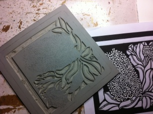Banksia Coastal Square 2012 Carving linocut