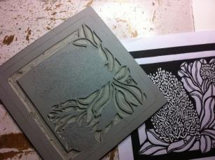 Banksia Coastal Square 2012 Carving linocut