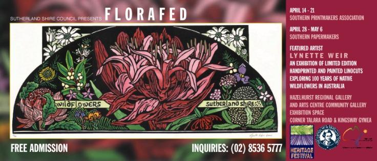 2001 'Florafed' Exhibition - Australian Linocut Artist - Invite Card