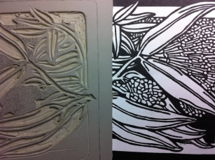 Powderpuff Lilypily Square 2012 Carving linocut