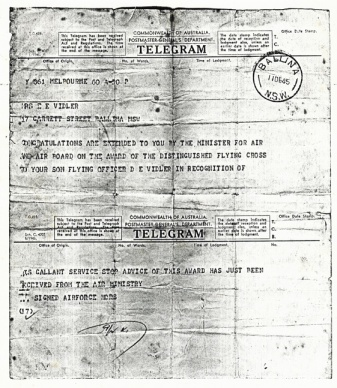 Don Vidler Telegram to mother DFC WEB