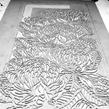 Waratah Tryptich Panel 2 Carving