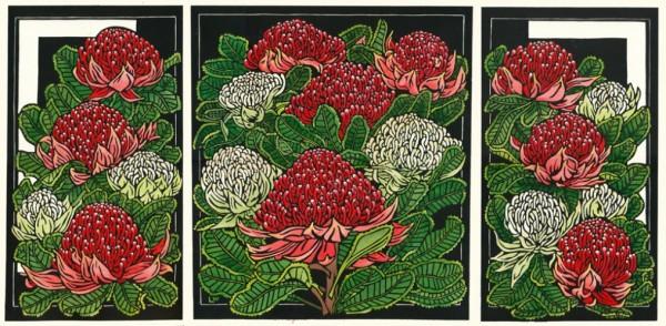 Waratah Art Linocut