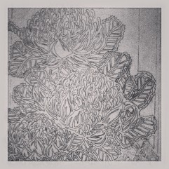 Waratah Tryptich - Carving the lino