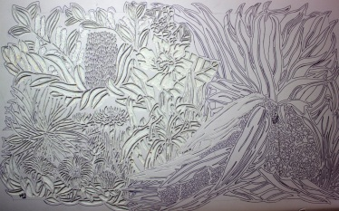Half the linoblock carved here :)