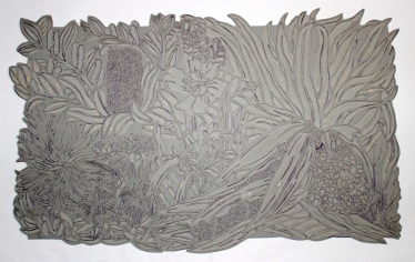 The final fully carved linoblock ready for printing