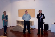 Ballina Shire Mayor David Wright opening the exhibitions - with Geoff Hannah & Lynette Weir