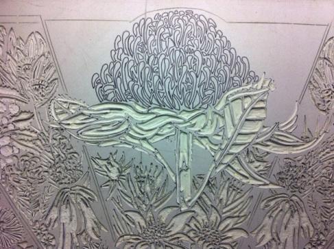 Lino carving progressions - Waratah 3