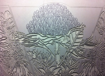 Lino carving progressions - Waratah 4