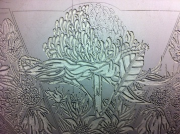 Lino carving progressions - Waratah 6