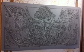 Linoblock carving finished