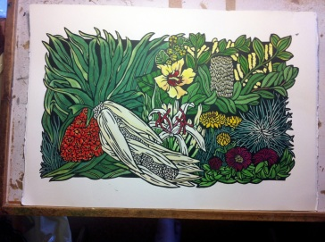 The final handcolouring finished - on my drawing board I hav used since my Dad made it for me in High School :)