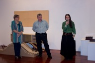 Gallery Director Ingrid Hedgcock at the opening of the exhibitions - with Geoff Hannah & Lynette Weir
