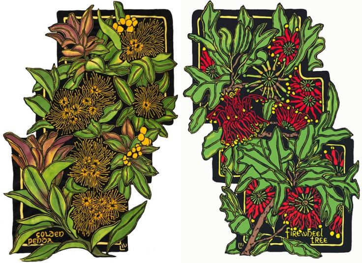 Australian Wildflower Rainforest - Golden Penda-Firewheel