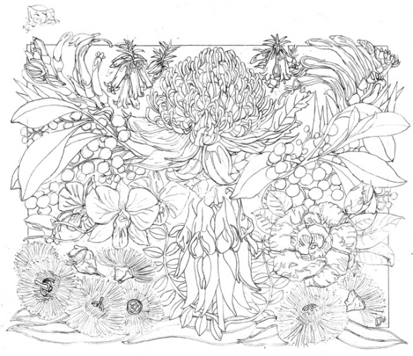 Australian Floral Emblems 2014 Drawing medium SCAN