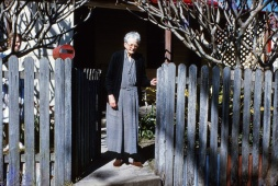 Mum Russell - Annie May Schaumann (Fred Shawman's sister) at her house in Wooli St, Yamba