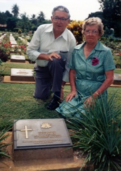 Frank MATTHEWS brother-in-law of George & his wife Elsie MATTHEWS nee VIDLER - Sister of George Thomas Vidler visiting his memorial in Kanchanaburi Cemetary in Thailand in 1989