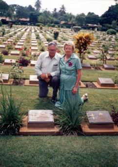 Frank MATTHEWS brother-in-law of George & his wife Elsie MATTHEWS nee VIDLER - Sister of George Thomas Vidler visiting his memorial in Kanchanaburi Cemetary in Thailand in 1989
